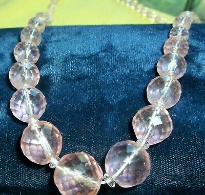 Vintage Art Deco Pink Crystal Faceted Bead Necklace 1930'S
