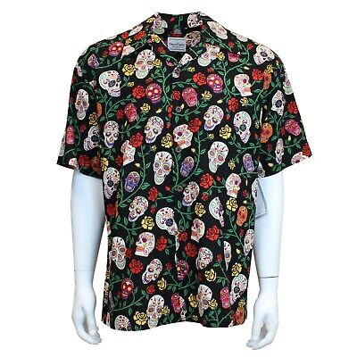 David Carey Day of the Dead Sugar Skulls Floral Camp Button Down Shirt 41504