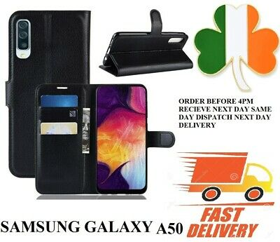 samsung galaxy A50 NEW  PU Leather new book case screen cover black