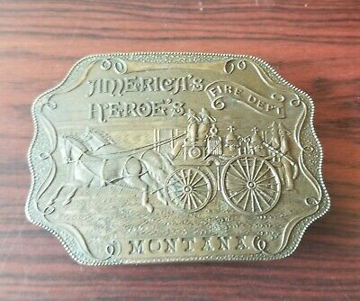 Vintage America's Heroes MONTANA Fire Department Tiffany's Brass Belt Buckle