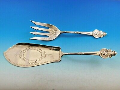 Medallion by Gorham Sterling Silver Fish Serving Set Brite Cut Dated 1866 12""