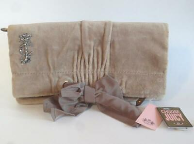 JUICY COUTURE Caramel Brown Velour Clutch Fold Over Handbag w/ Bow NWT