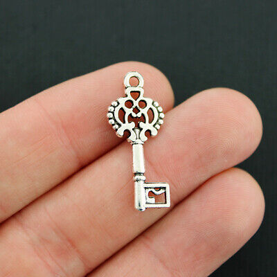 2 Key Charms Antique Silver Tone Large Size 2 Sided Ornate Design SC5678