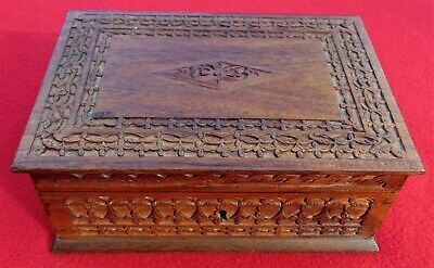 Antique Carved Hardwood Box ~ With Key ~ Tray With Lids ~ Beautiful & Rare
