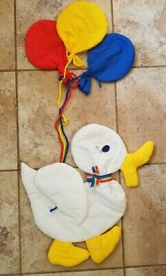 Nursery Toddler Wall Decor Soft White Duck Duckie Holding Balloons Free Shipping