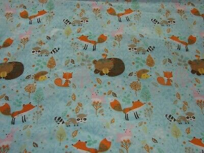 Flannelette Fitted Bears Foxes & Hedgehogs Blue Cot Sheet Handmade