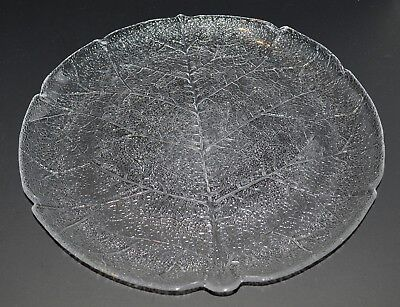 Arcoroc Aspen Leaf clear glass Torte Plate or Cake Plate - 13 inches - 4 avail.