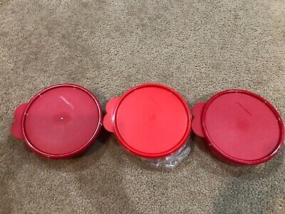 Tupperware SET 3 IMPRESSIONS MICROWAVE CEREAL BOWLS POPSICLE RED NEW