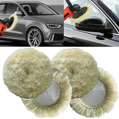Polishing Pad Buffing Pads Kit 4PCS 4inch 100/% Natural Wool Hook /& Loop Grip