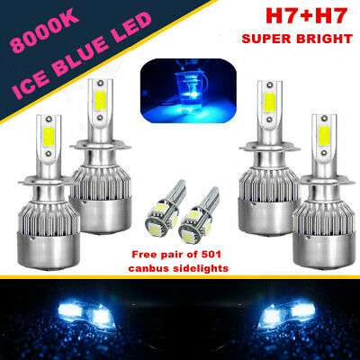 Skoda Fabia 6Y2 H7 501 55w ICE Blue Xenon Low//Canbus LED Side Light Bulbs Set