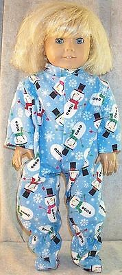 "Doll Clothes Made 2 Fit American Girl 18"" inch Pajamas Snowmen Snowflakes Winter"