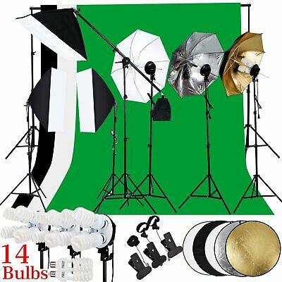 Photo Studio Continuous Softbox Umbrella Lighting Kit Backdrop Light Stand Set40