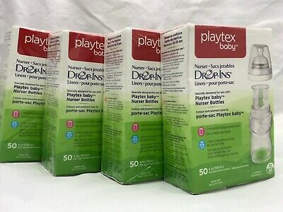 Lot of 4 New In Box Playtex Nurser Drop Ins Bottle Sleeves 4 oz Disposable 50 ct