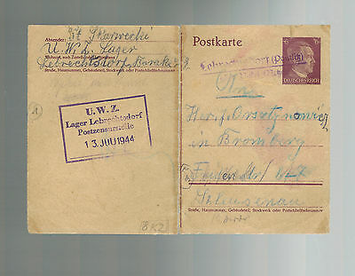 1944 Germany Lebrichtsdorf KZ Concentration Camp Postcard Cover to Bromberg