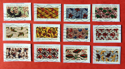 Nouveaute Timbres Obliteres 2019 - Serie Tissus Inspiration Africaine Complete