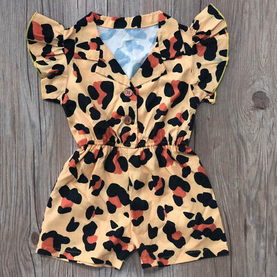 AU Toddler Kids Baby Girl Summer Leopard Romper Bodysuit Jumpsuit Outfit Clothes