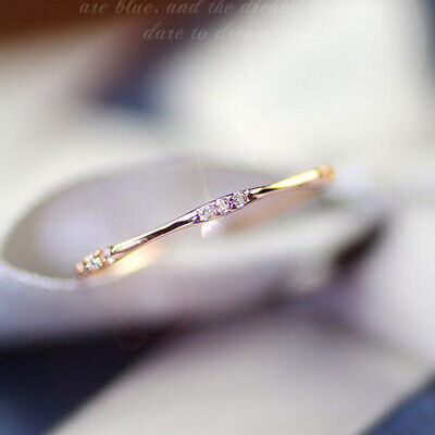 14k gold 3 tiny white topaz pieces of exquisite small fresh lady engagement ring