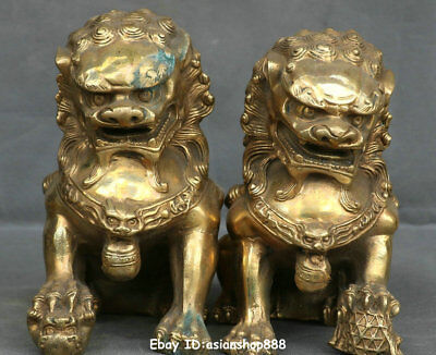 Collect Chinese Bronze Fengshui Foo Fu Dog Guardion Door Lion Pair Animal Statue