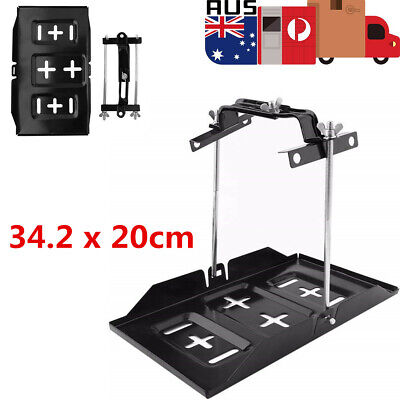 Large Universal Car Battery Tray with Hold Down Dual Deep Cycle Clamp Kit OZ