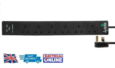 Surge Protected 6-Way Extension Lead  - Black 6 Gang Multi Plug Socket with USB