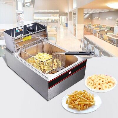 10L Commercial Electric Deep Fryer Frying Single Basket Chip Cooker Fry Kitchen