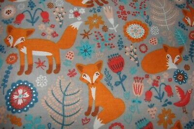 Flannelette Multi-Colour Fitted Grey Foxes Cot Sheet Handmade