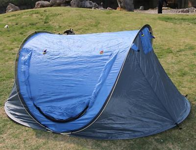 Outdoor Blue Pop Up Tent Waterproof Sleeping Camping Canopy Automatic Speed Open