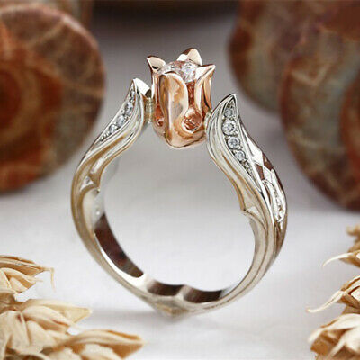 Exquisite Rose Gold Rose Floral Ring 925 Silver Flower Wedding Jewelry Sz 5-10
