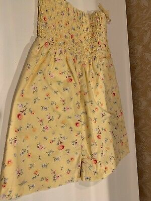 Baby Gap Toddler Girls Size 4T Yellow Floral Sleeveless Romper Shorts