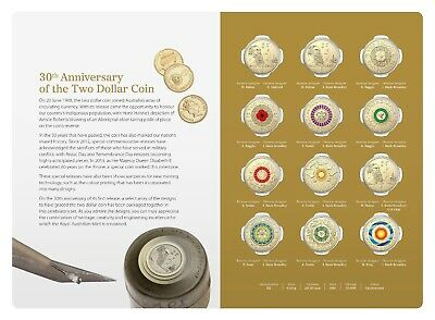 Australia 2018 $2 30th Anniversary of $2 coin 12 Twelve Coloured Coins UNC set