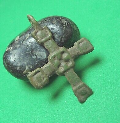 Ancient Bronze Cross Wearable Pendant Kievan Rus Antique Rare C172