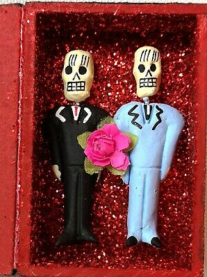 Authentic Mexican Folk Art Day of the Dead Wedding Day Gay Amor Eterno Box