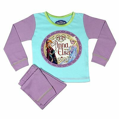 Girls Cotton Green And Lilac Disney Frozen Pyjamas Anna Elsa Age 2-3 Years Bnwt