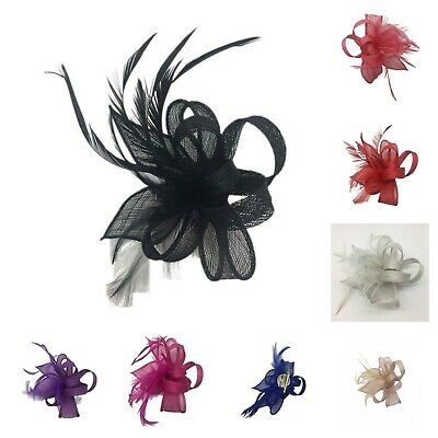 Ladies Day Wedding Hat Occasions Flower Small Fascinator Ascot Brooch Clip UK