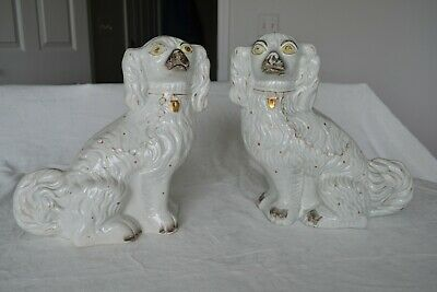 Antique Staffordshire Dogs Pair White Gold Spaniel Standing Large 11""