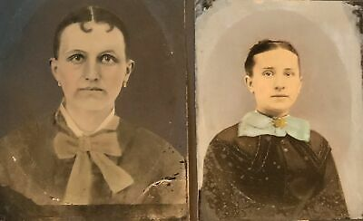 2 full plate tintype portraits of Victorian women with big bows heavily painted