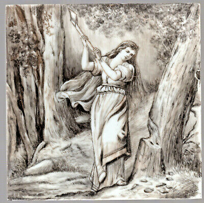 """The Woodcutter's Daughter"" - c1870s - Hand-Painted Artwork On Porcelain Plaque"