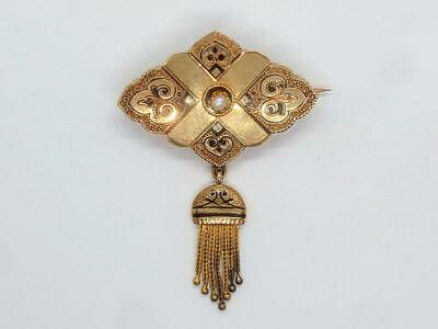 c1870s Antique Victorian 14 kt Rose Gold Tassel Pin with Center Pearl