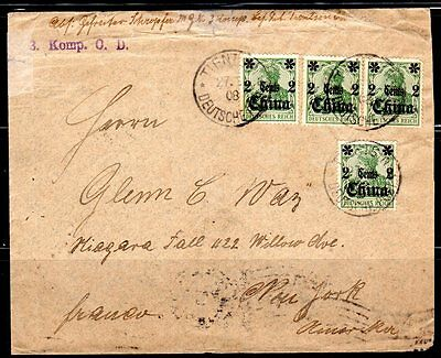 GERMANY CHINA 1908 GERMAN OFFICES TIENSTIN DATED CANCELS TYING Sc.38 (x4) TO NY