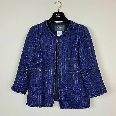 Women's Chanel Blue and Black Multicolor Tweed Jacket Size 42 Made in France MSR