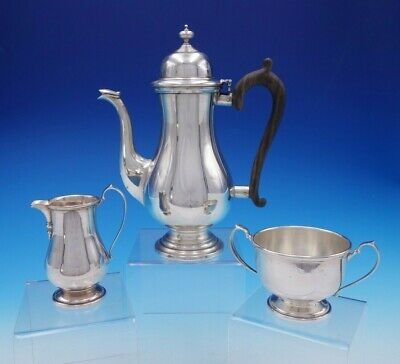 George II by Frank Whiting Sterling Silver and Wood Demitasse Set 3pc (#3323)