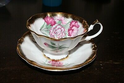 Vintage Royal Albert Crown China Floral Cup And Saucer Gold Trim