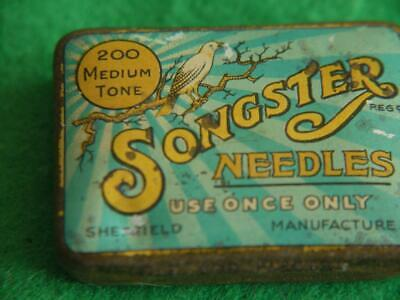 Nice Original Vintage Songster Medium Tone Gramophone Needle Tin With Contents