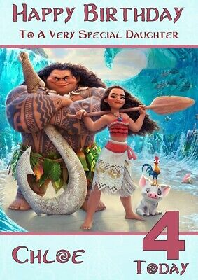 Personalised Birthday card Moana any name/relation/age