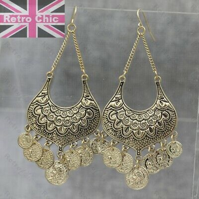 "GYPSY CHANDELIER EARRINGS vintage gold tone coins boho FASHION big 3.5""long"