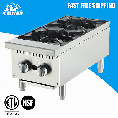 ETL- 12″ Stainless Steel Two Burner Hotplate countertop - Commercial Kitchen -