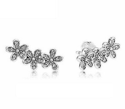 Steriling Silver Dazzling Daisy Clusters With Crystal Studs Earring