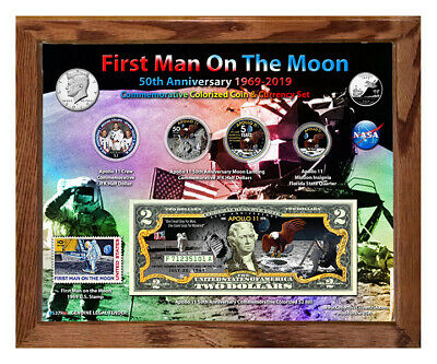 """Apollo 11 Color 50th Anniversary Colorized Coin & Currency Set in 8"""" x 10"""" Frame"""