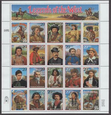 Scott # 2869 - US Souvenir Sheet Of 20 - Legends Of The West - MNH - 1994