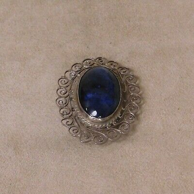 Mexico Sterling Silver Brooch with Blue Stone & Filigree Border